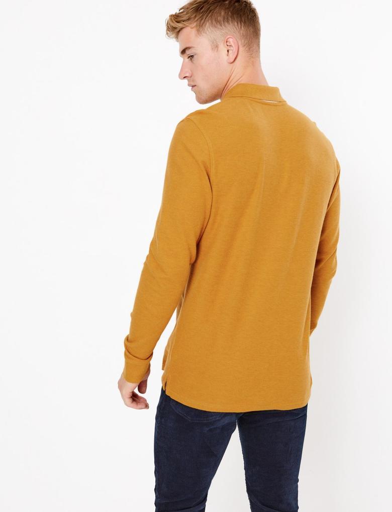 Erkek Kahverengi Uzun Kollu Polo Yaka T-shirt