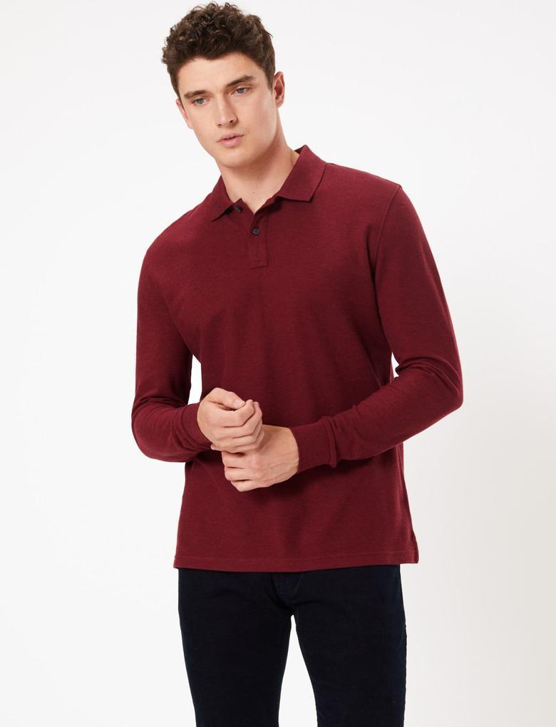 Erkek Mor Uzun Kollu Polo Yaka T-shirt