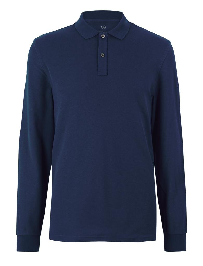 Erkek Lacivert Uzun Kollu Polo Yaka T-shirt