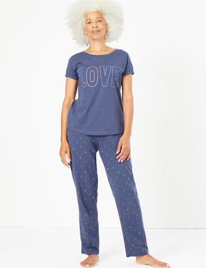 Kadın Mavi Love Pijama Takımı