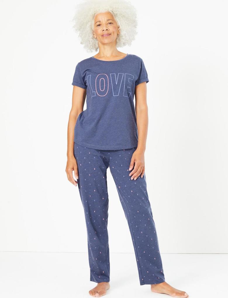 Mavi Love Pijama Takımı