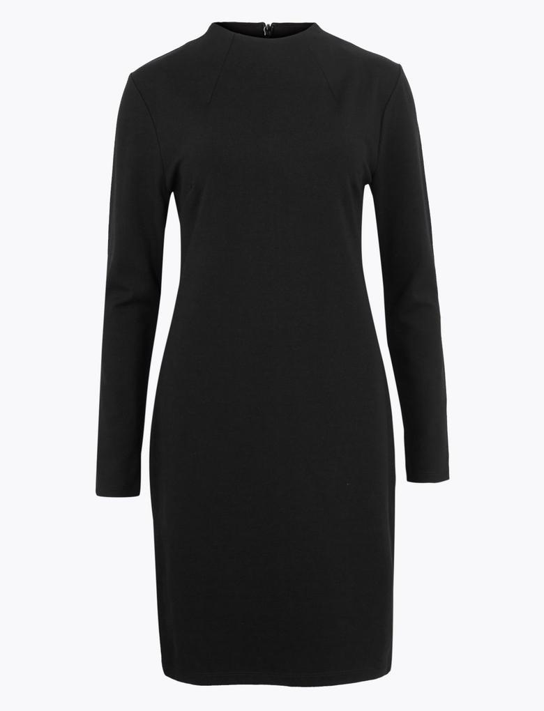 Kadın Siyah Uzun Kollu Shift Elbise