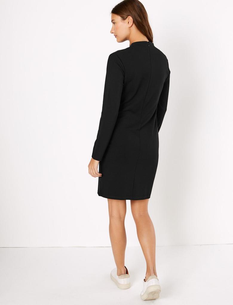 Siyah Uzun Kollu Shift Elbise