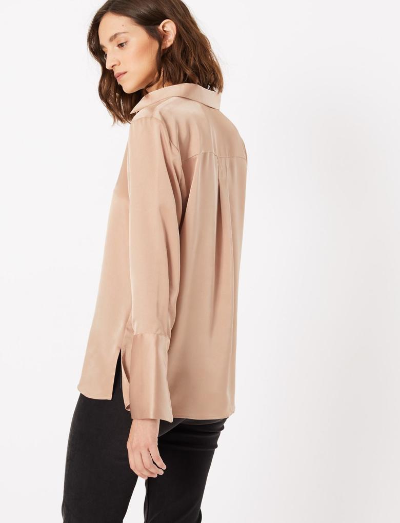 Kadın Kahverengi Uzun Kollu Gömlek