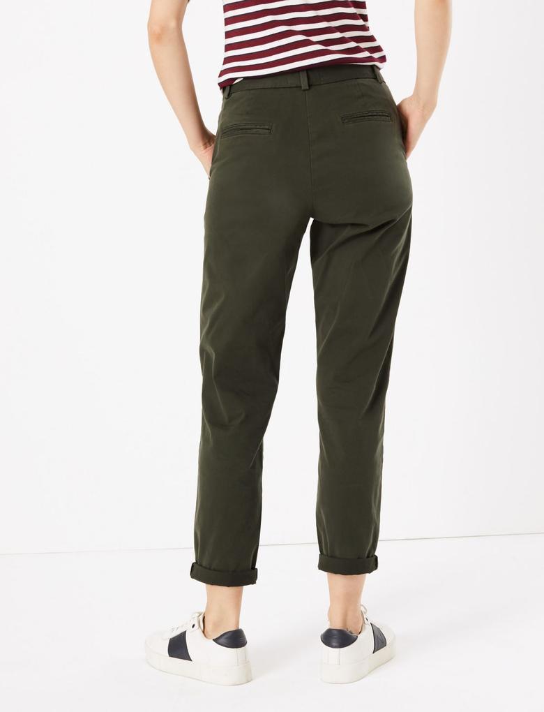 Yeşil Pamuklu Chino Pantolon