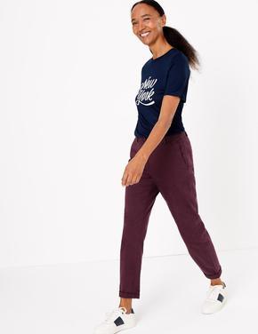 Kadın Bordo Pamuklu Chino Pantolon