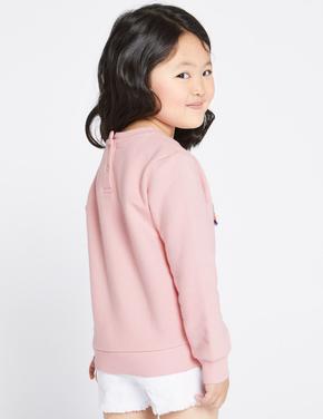 Kız Çocuk Pembe Pamuklu Sweatshirt