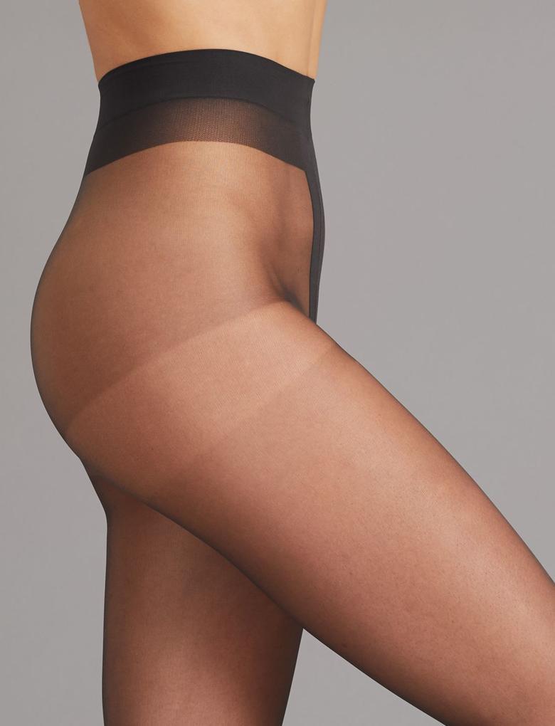 Kadın Siyah 7 Denye Kaçmaya Dayanıklı Şeffaf Külotlu Çorap