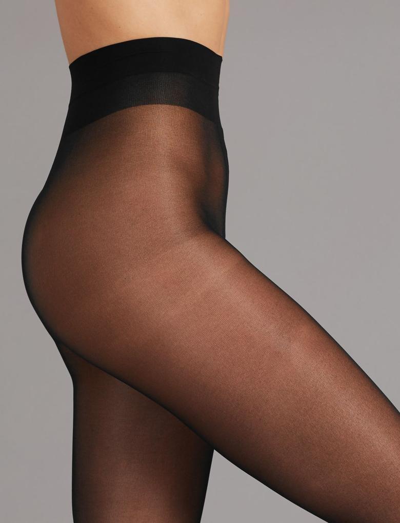 Kadın Siyah 2'li 15 Denye Kaçmaya Dayanıklı Parlak Külotlu Çorap