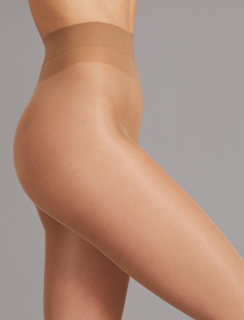 Kadın Kahverengi 2'li 15 Denye Kaçmaya Dayanıklı Parlak Külotlu Çorap