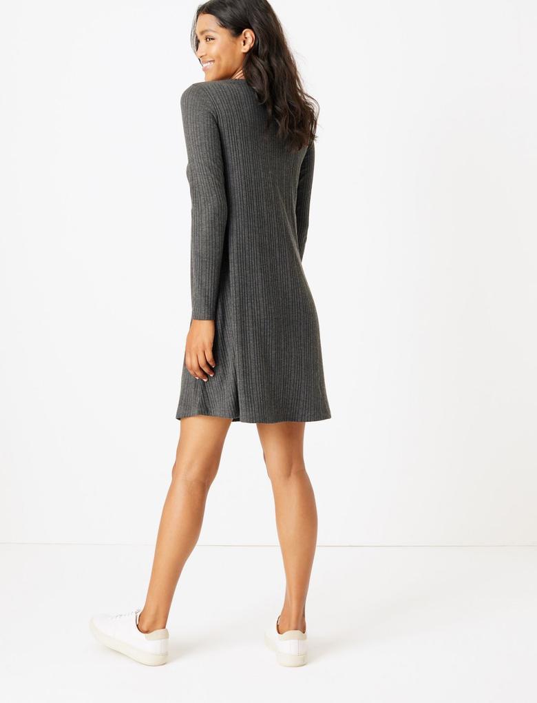 Kadın Gri Uzun Kollu Jarse Elbise