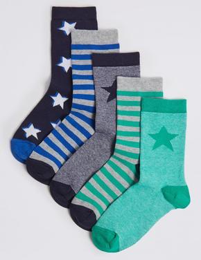5'li Çizgili Çorap Seti