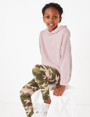 Kız Çocuk Pembe Pamuklu Kapüşonlu Sweatshirt