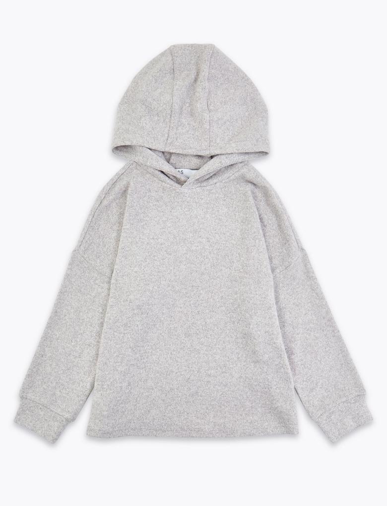 Kız Çocuk Gri Pamuklu Kapüşonlu Sweatshirt
