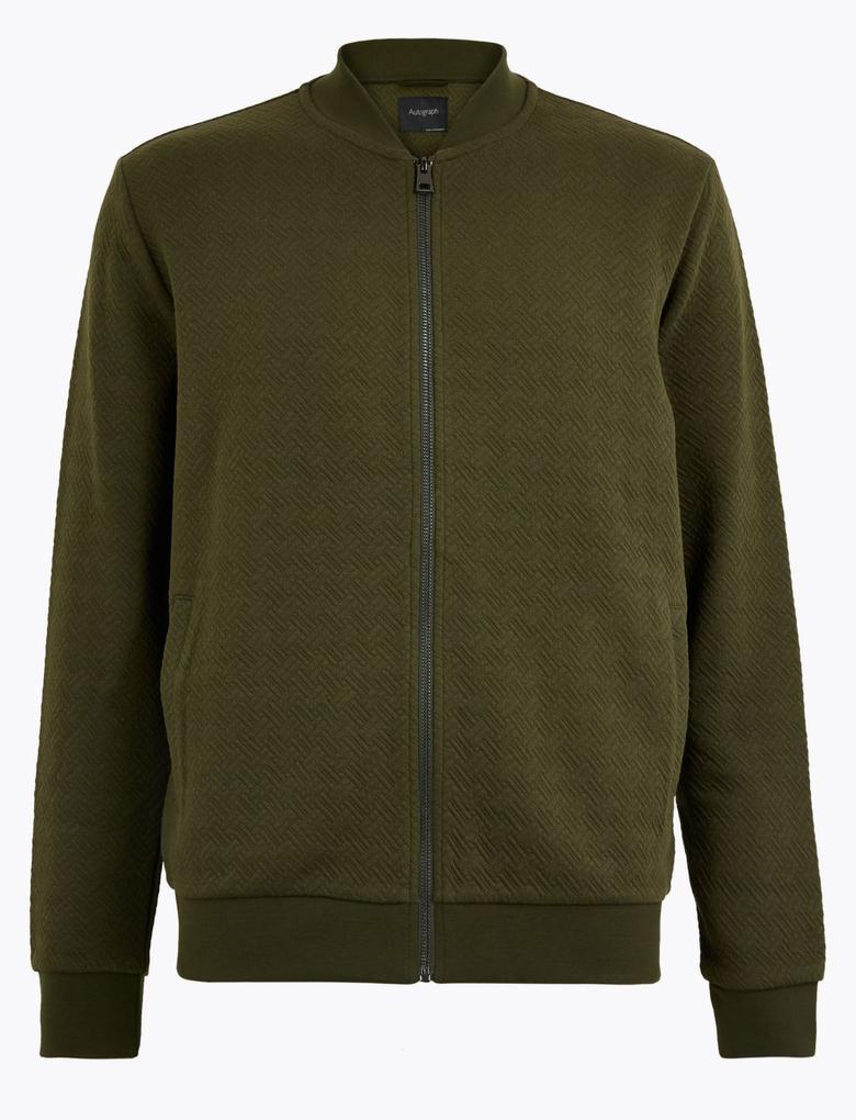 Erkek Yeşil Fermuarlı Bomber Ceket