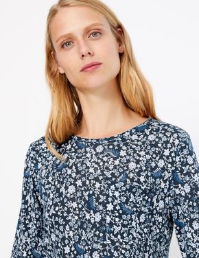 Lacivert Uzun Kollu Desenli T-shirt