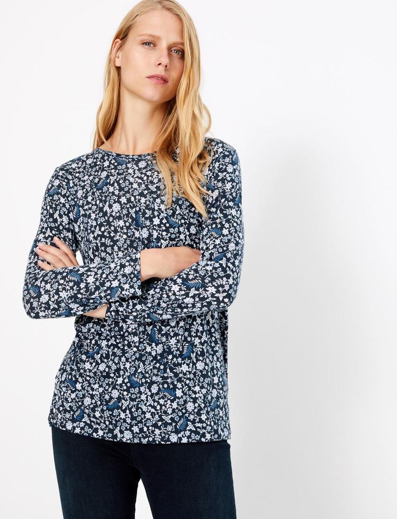 Kadın Lacivert Uzun Kollu Desenli T-shirt