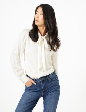 Fularlı Desenli Bluz