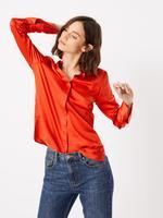 Kadın Turuncu Uzun Kollu Saten Gömlek