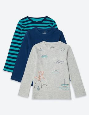3'lü Desenli T-shirt Seti
