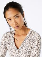 Kadın Krem Uzun Kollu Desenli T-shirt