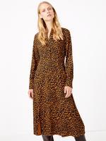 Kadın Sarı Leopar Desenli Elbise