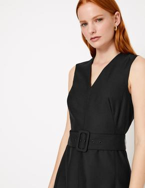 Kemerli Kolsuz Midi Elbise