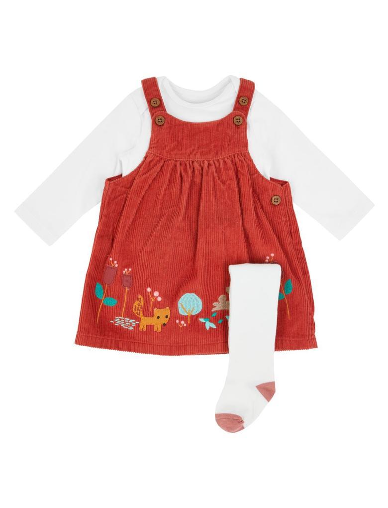 Bebek Kahverengi 3'lü Kadife Elbise Takımı