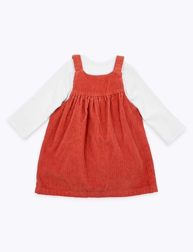 Kahverengi 3'lü Kadife Elbise Takımı