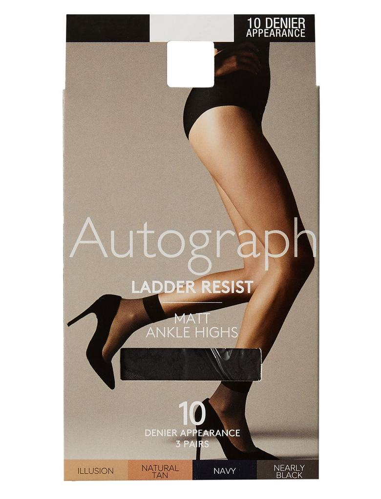 Kadın Siyah 3'lü 10 Denye Kaçmaya Dayanıklı Mat Soket Çorap (Silver Teknolojisi ile)