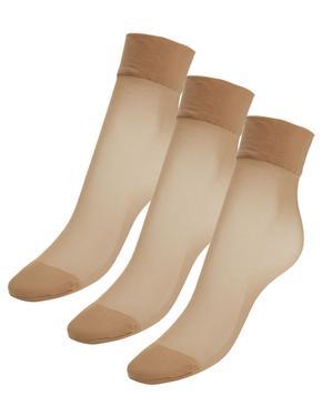 Kadın Kahverengi 3'lü 10 Denye Kaçmaya Dayanıklı Mat Soket Çorap (Silver Teknolojisi ile)
