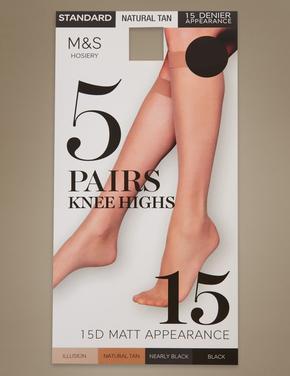Kadın Kahverengi 5'li 15 Denye Mat Diz Altı Çorap