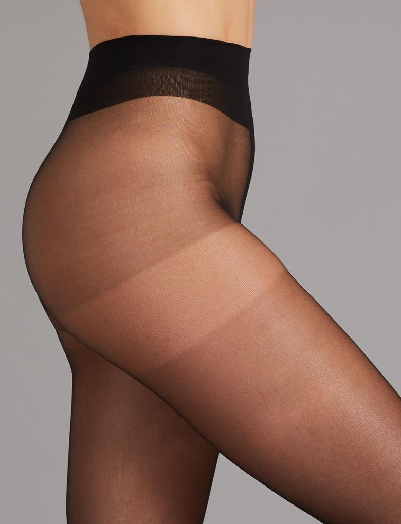 Kadın Siyah 7 Denye Kaçmaya Dayanıklı Şeffaf Çorap