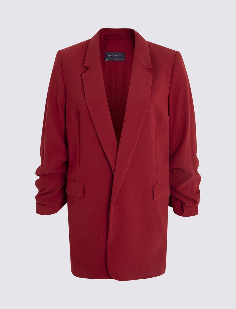 Büzgülü Kol Detaylı Blazer Ceket