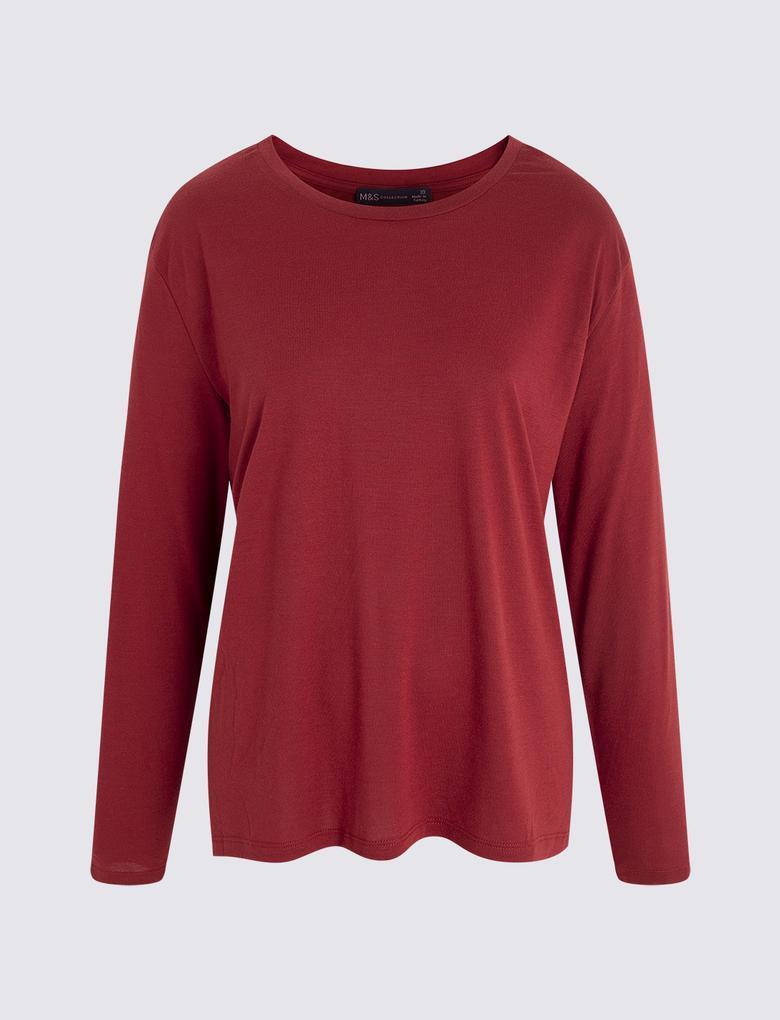 Kadın Kırmızı Uzun Kollu T-shirt