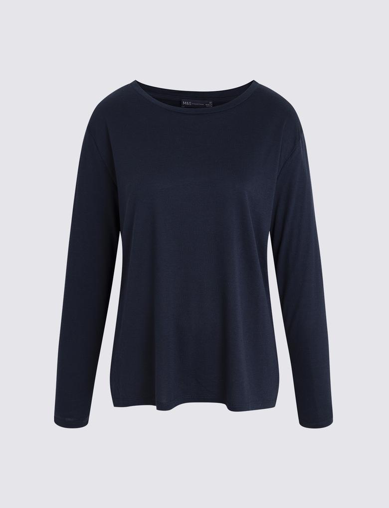 Lacivert Uzun Kollu T-shirt
