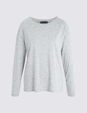 Kadın Gri Uzun Kollu T-shirt