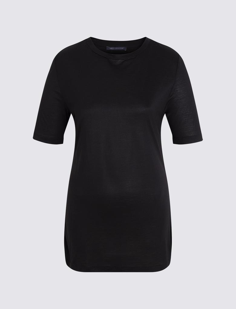 Kadın Siyah Kısa Kollu Merserize Bluz
