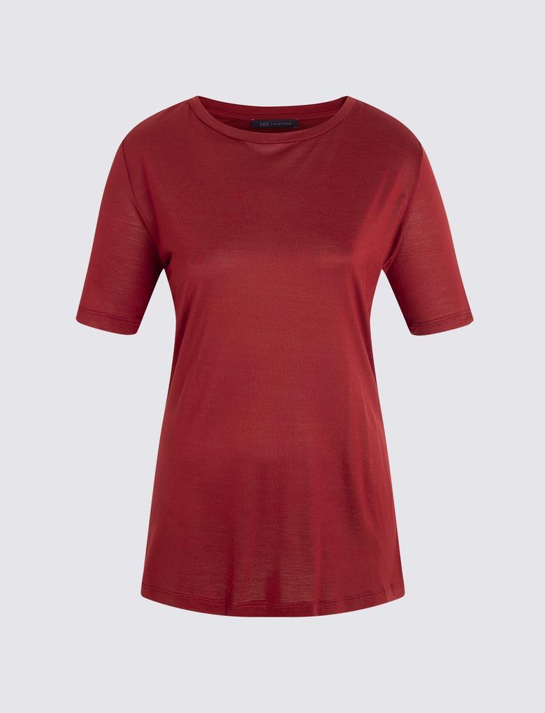 Kadın Kırmızı Kısa Kollu Merserize Bluz