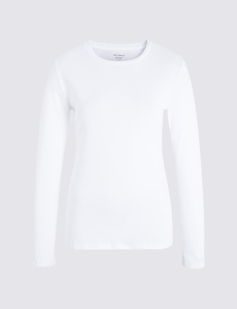 Saf Pamuklu Uzun Kollu T-shirt
