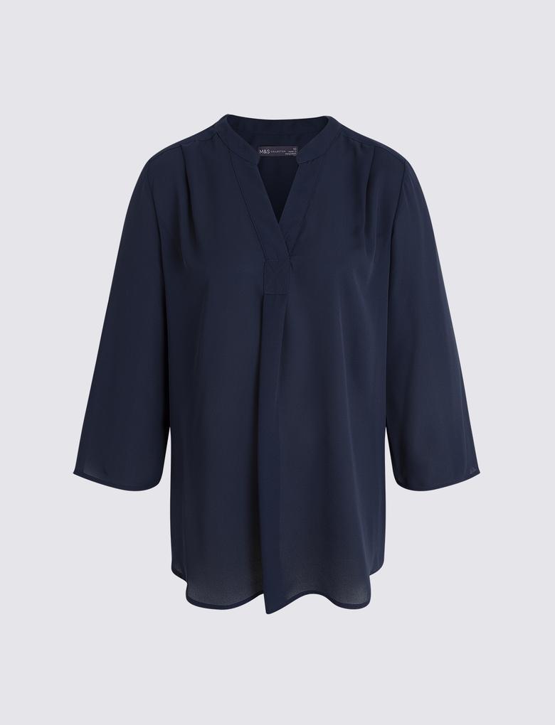 Kadın Lacivert 3/4 Kollu Bluz