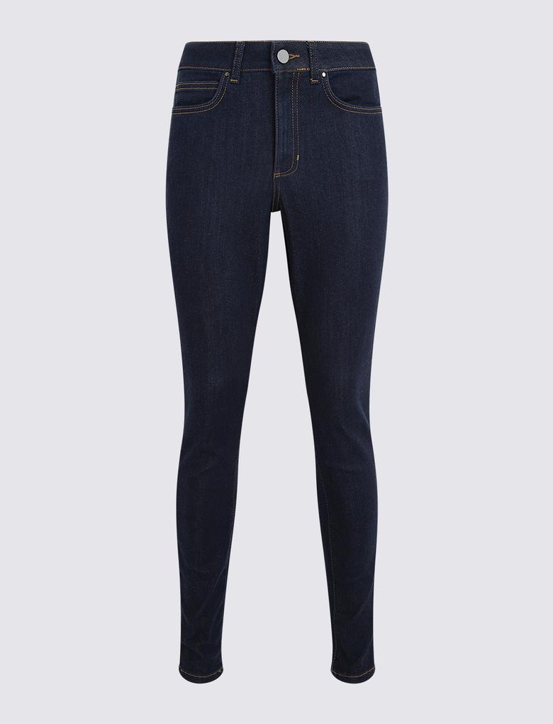 Lacivert Yüksek Belli Skinny Jean Pantolon