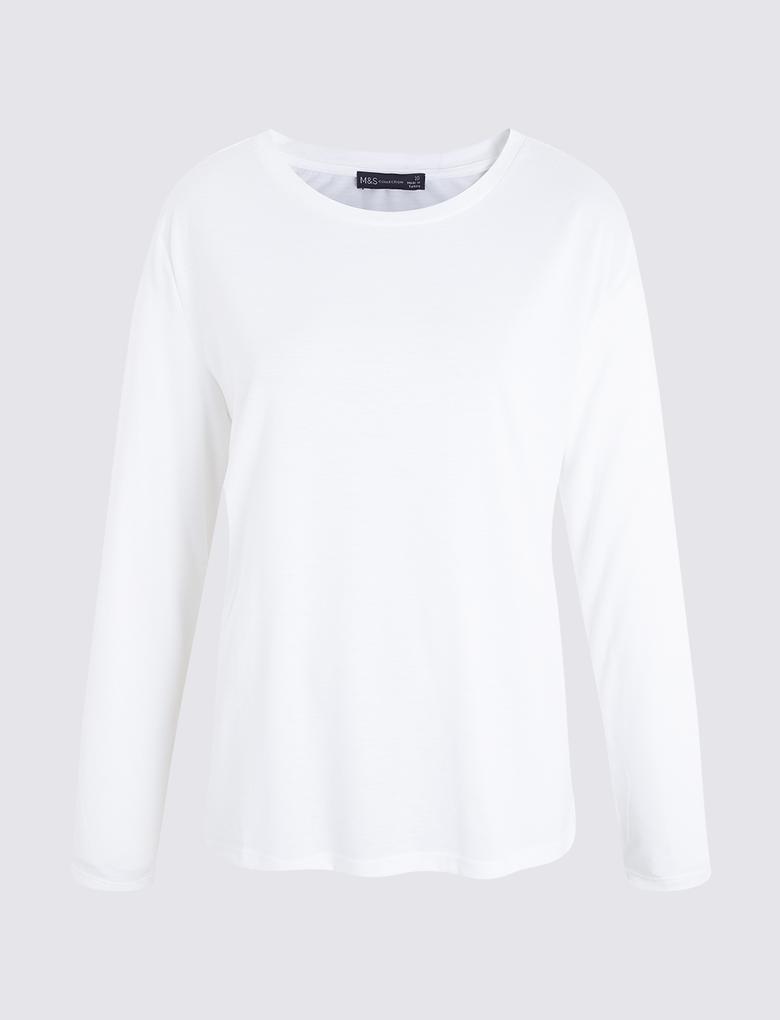 Beyaz Uzun Kollu T-shirt