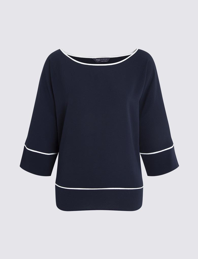 Lacivert Kimono Bluz