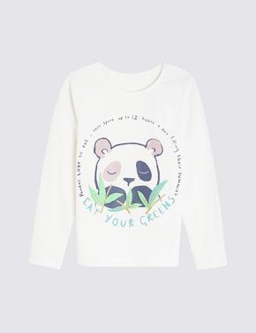 Kız Çocuk Beyaz Uzun Kollu T-shirt