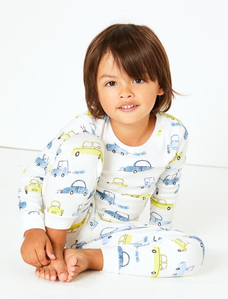 Multi Renk 2'li Desenli Pijama Takımı