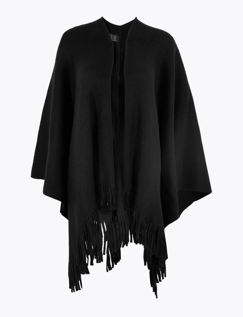 Kadın Siyah Örgü Panço