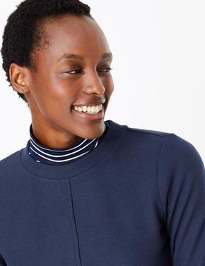 Kadın Lacivert Pamuk Karışımlı Sweatshirt