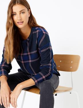 Kadın Lacivert Kareli Cosy Sweatshirt