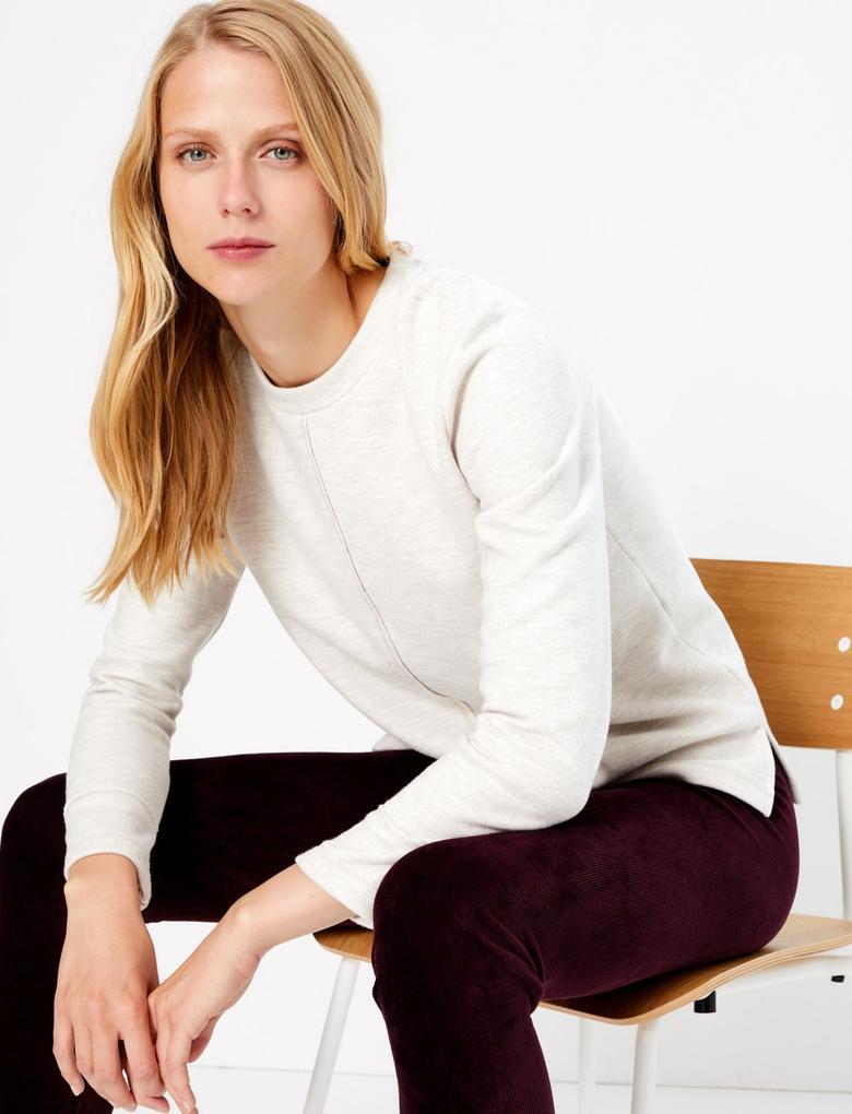 Kadın Bej Pamuk Karışımlı Sweatshirt
